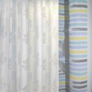 Органза деворе тюль полоски желто-голубые, веточка листьев, белая, ш.280