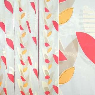 Органза деворе тюль полосы бордовые листья бежевые, оранжевые, красные, белая, ш.295