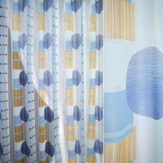 Полуорганза деворе тюль круги большие и квадраты рыжие, голубая, ш.280