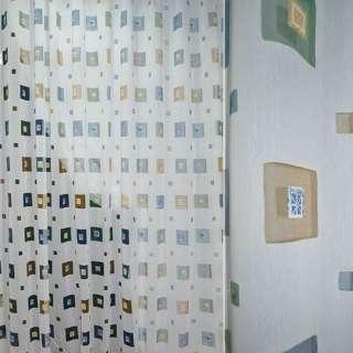 Полуорганза деворе тюль квадраты с квадратами разноцветными, белая, ш.280