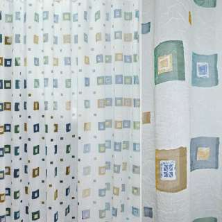 Полуорганза деворе тюль креш квадраты с квадратами разноцветные, белая, ш.260