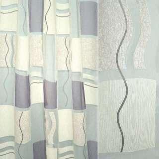Органза деворе тюль квадраты молочные и фиолетовые, белая, ш.290