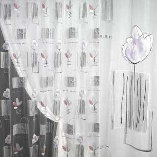 Органза деворе тюль прямоугольники серые, цветы сиреневые, белая, ш.285