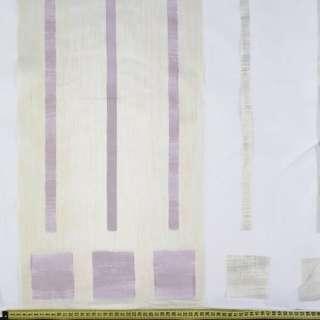Органза деворе тюль полосы молочные, серые и баклажановые, белая, ш.290