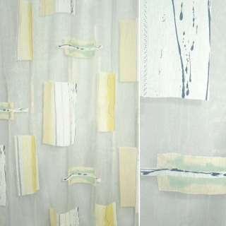Органза деворе тюль квадраты абстрактный рисунок желтый, белая, ш.280