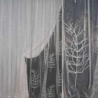 Органза деворе тюль деревья белые, полоски голубые, белая, ш.295