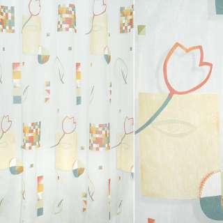 Органза деворе тюль квадраты мозаика, тюльпаны разноцветные, белая, ш.295