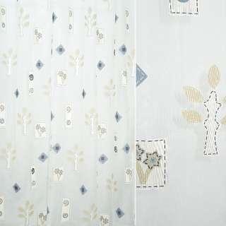 Органза деворе тюль ромбы, деревья, цветы бежево-синие, белая, ш.290