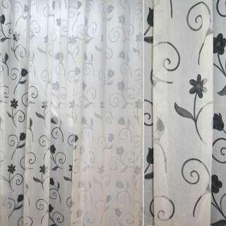 Органза деворе тюль завитки и цветы серые, белая, ш.290
