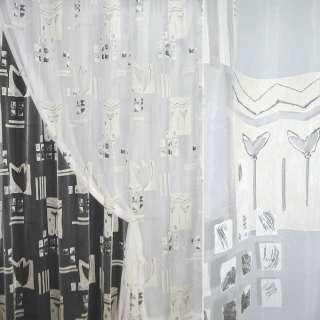 Органза деворе тюль квадраты абстракция молочно-серая, тюльпан, белая, ш.290