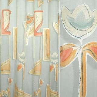 Органза деворе тюль абстракция цветы абрикосово-серая, белая, ш.290