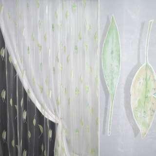 Органза деворе тюль листья зеленые, белая, ш.290
