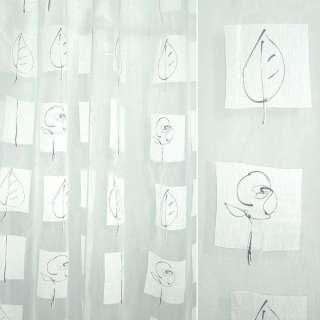 Органза деворе тюль цветы и листья черные, квадраты белые, белая, ш.235
