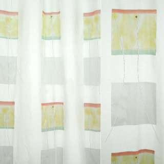 Органза деворе тюль квадраты желто-красно-зеленые, белая, ш.140