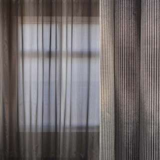 Кристаллон тюль в полоску рапорт, серый, ш.295