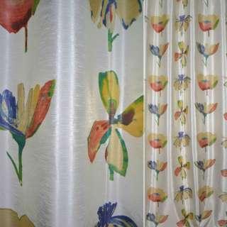 Шелк искусственный для штор принт цветы крупные пестрые на молочном фоне, ш.140