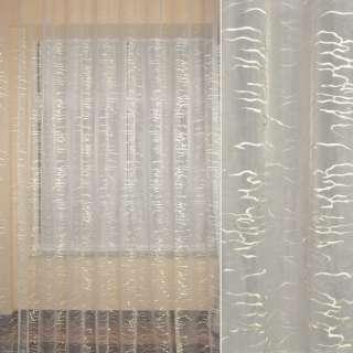 Органза FUGGERHAUS молочная с вышивкой завитки, с утяжелителем, ш.320