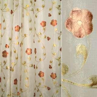 Органза бежево-золотистая с коричневыми цветами ш.135