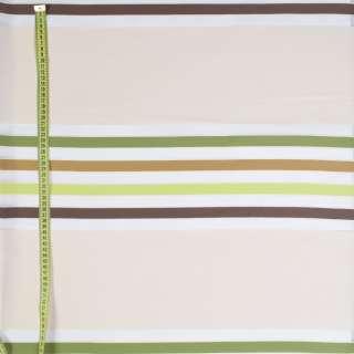Лен-органза в молочные, зеленые, коричневые полоски, ш.150