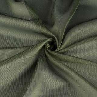 Микросетка тюль хамелеон зеленая с утяжелителем, ш.300