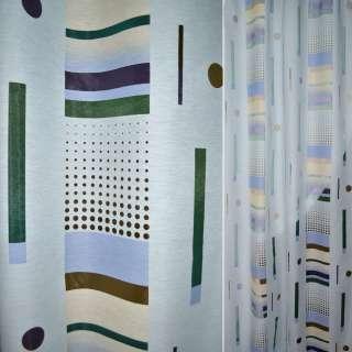 Деворе портьерное голубое бледное с разноцветными полосками и точками ш.140