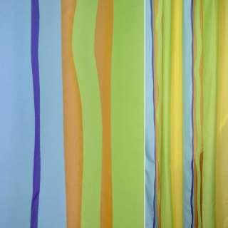 Деворе для штор полосы-волны салатовые, голубые, оранжевые, ш.140