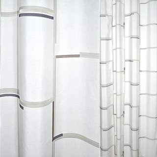 Деворе для штор полосы сине-коричнево-оливковые квадраты белые, ш.140