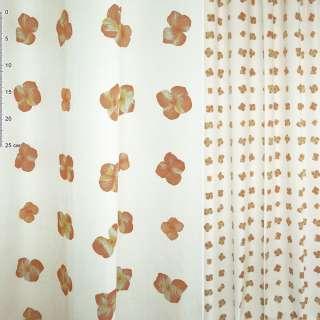 Деворе портьерное белое с рыже-желтыми цветами ш.150