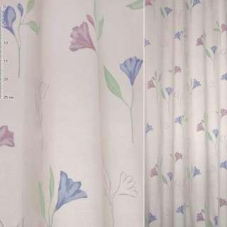 Деворе для штор колокольчики сиреневые и голубые на розовом фоне, ш.140