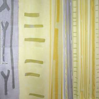 Деворе портьерное желтое с сиреневыми полосками и абстракцией ш.160
