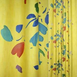 Деворе портьерное желтое с разноцветными пятнами ш.160