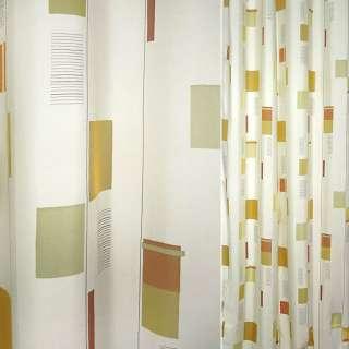 Деворе для штор прямоугольники желто-оранжевые, терракотовые на молочном фоне, ш.140