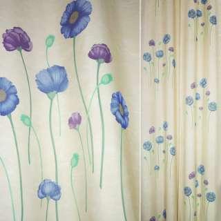 Деворе портьерное бежевое с синими и серыми высокими цветами ш.140