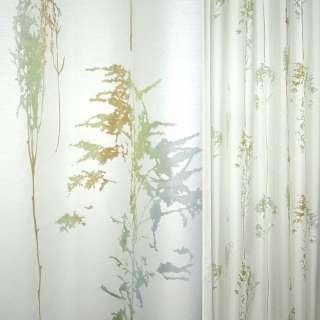 Деворе портьерное белое с серебристо-зелено-бирюзовыми деревьями ш.140
