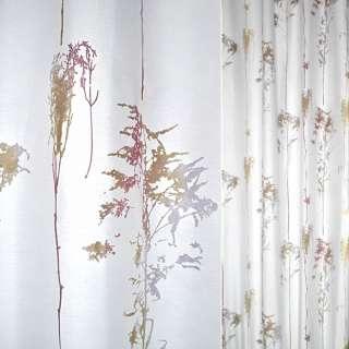 Деворе портьерное белое с сиренево-красно-золотистыми деревьями ш.140