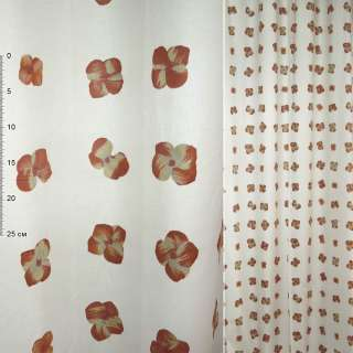 Деворе портьерное белое с терракотово-желтыми цветами ш.150