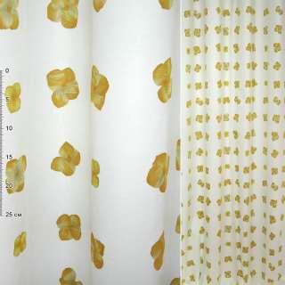 Деворе портьерное белое с желтыми цветами ш.150