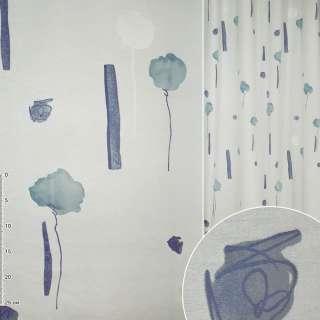 Деворе портьерное белое голубое с высокими цветами и синими прямоугольниками ш.140