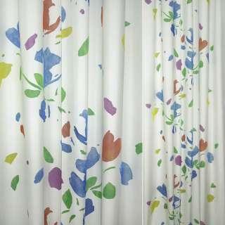 Деворе портьерное белое с яркими разноцветными пятнами ш.150
