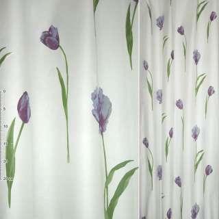 Деворе портьерное белое с фиолетово-сиреневыми высокими тюльпанами ш.135