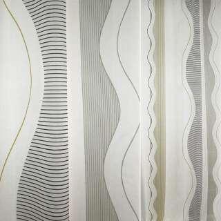 Деворе портьерное белое с сине-серо-желтыми волнами в полоску ш.180