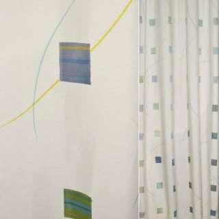 Деворе для штор квадраты салатово-голубые, полосы разноцветные на молочном фоне, ш.140