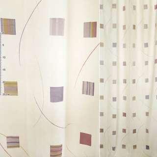 Деворе для штор квадраты сиренево-желтые, полосы разноцветные на молочном фоне, ш.140