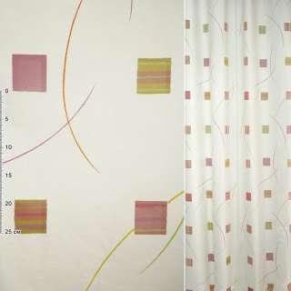 Деворе для штор квадраты розово-желтые, полосы разноцветные на молочном фоне, ш.140