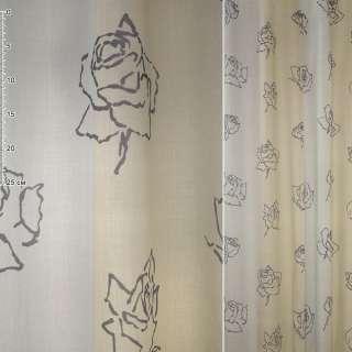 Деворе портьерное в бежево-серые полосы с темно-серыми розами, ш.170