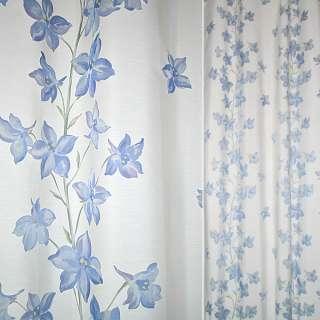Деворе портьерное молочное с голубыми высокими цветами ш.140