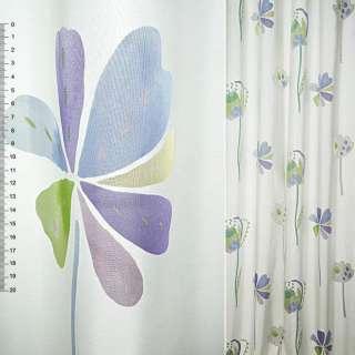 Деворе портьерное белое с крупными сиренево-голубыми цветами ш.140