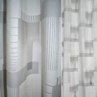 Деворе портьерное белое с серыми прямоугольниками и полосками ш.140