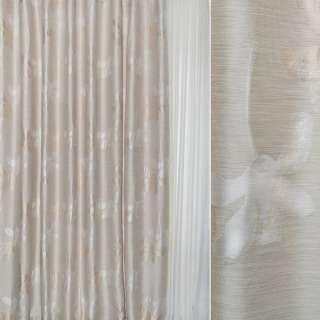 Жаккард песочный с молочно-бежевыми цветами ш.280