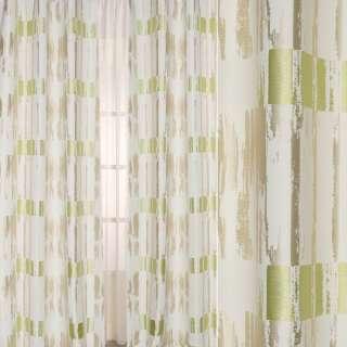 Жаккард атласный в бежевые, салатовые полосы с абстрактным рисунком, ш.140